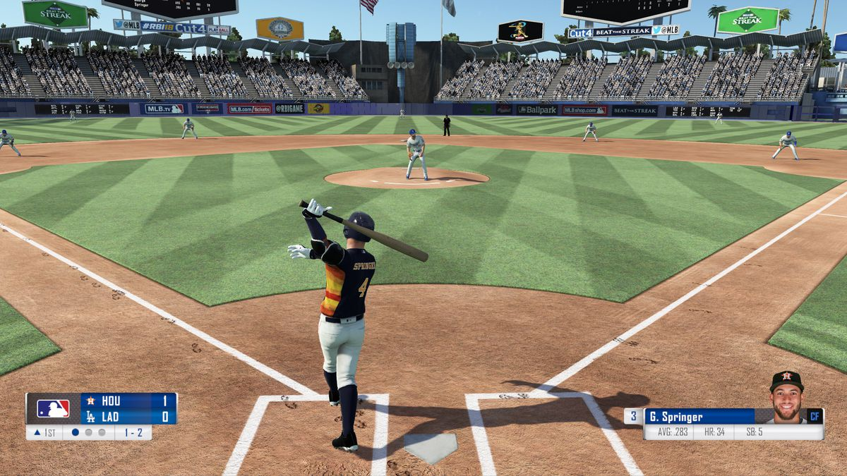R.B.I. Baseball 18 - George Springer hitting against Clayton Kershaw at Dodger Stadium