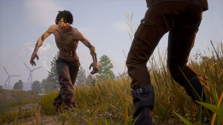State of Decay 2 - zombie with glowing eyes approaching a person