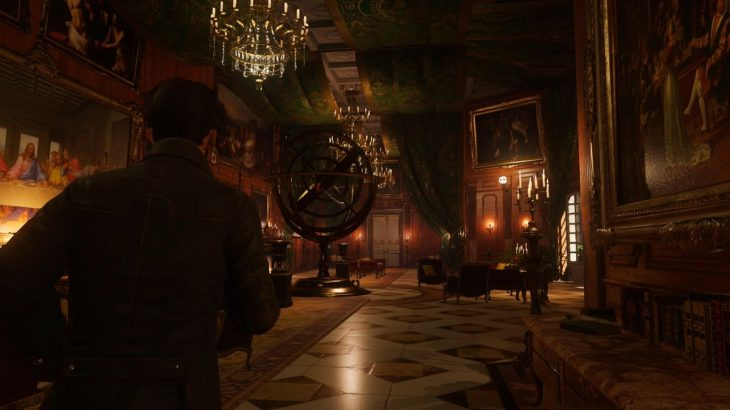 The Council - walking through a fancy room in the mansion with a chandelier above a giant armillary sphere