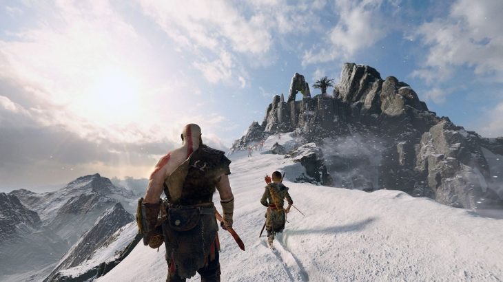 God of War - Kratos and Atreus approaching the top of the mountain