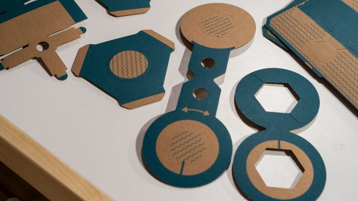 Nintendo Labo - cardboard shapes partially punched out